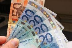 Bargeld, Geldscheine, 20 Euro, schnell 50 Euro verdienen - Geldbündel, Geldfächer, Geld auf der Hand